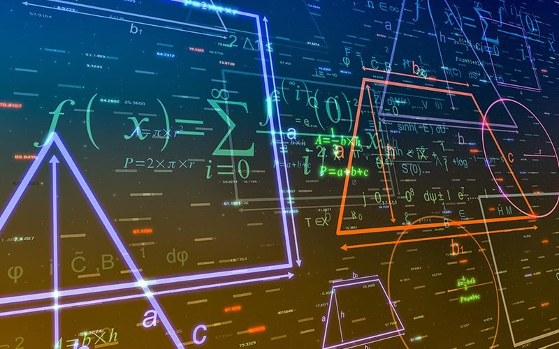 geometric shapes and formulas, abstract background