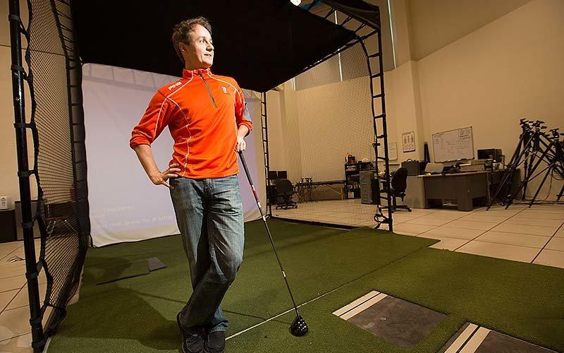 Scott Lynn at golf research facility
