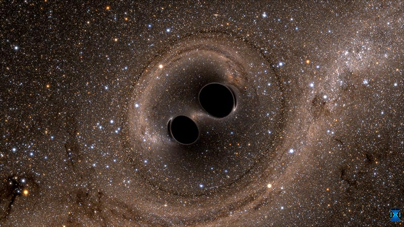 A computer calculation showing what two black holes just about to merge would look like up close.