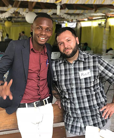 Rick Montoya with Haitian teacher