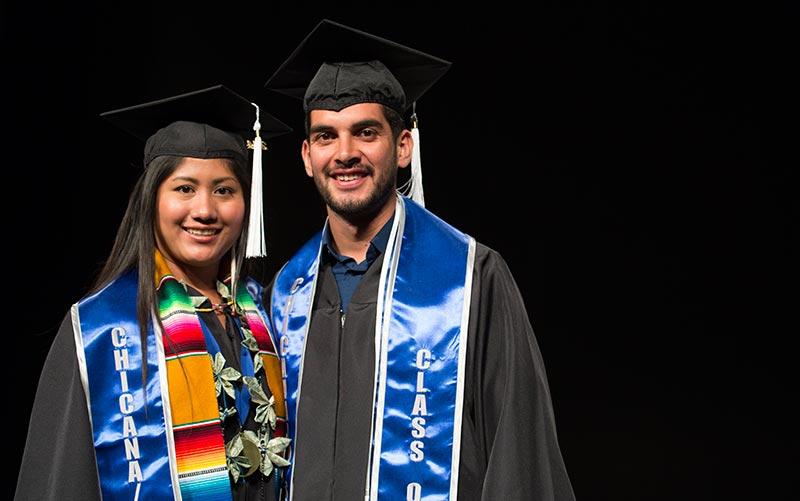 Graduating students Alma Lorenzo and Diego Zarate