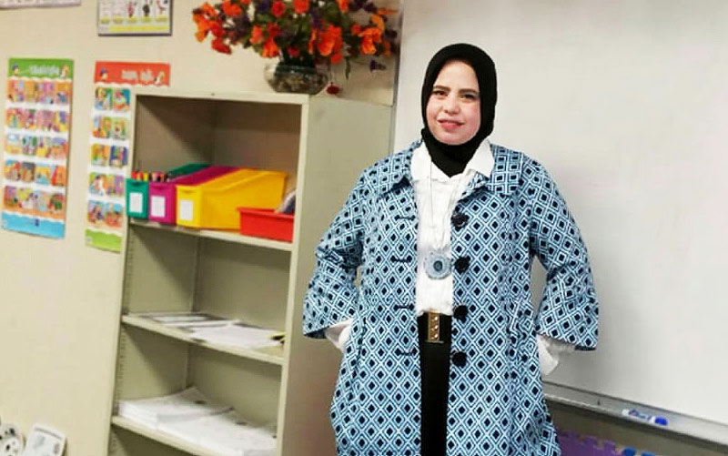 Marwa Thabet in classroom.