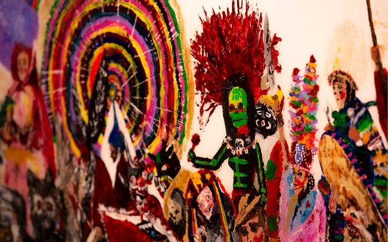 """""""Masks of our Culture"""" painting by Noemi Barajas"""