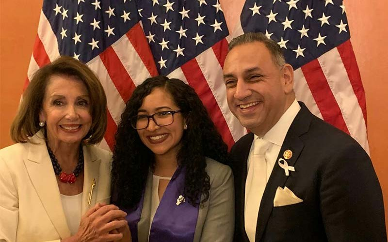 Speaker of the House Nancy Pelosi, CSUF student Miriam Tellez and Congressman Gil Cisneros