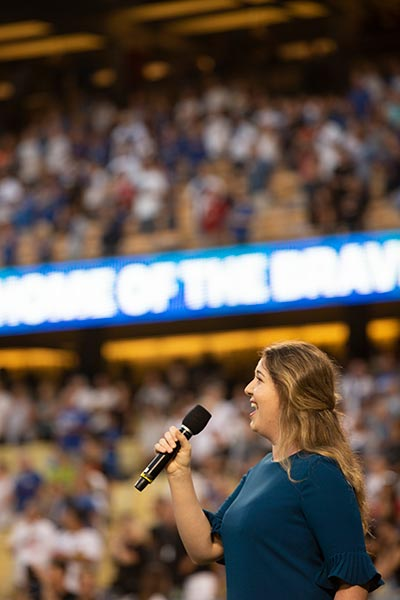Danielle Pribyl sings the national anthem at Dodger Stadium