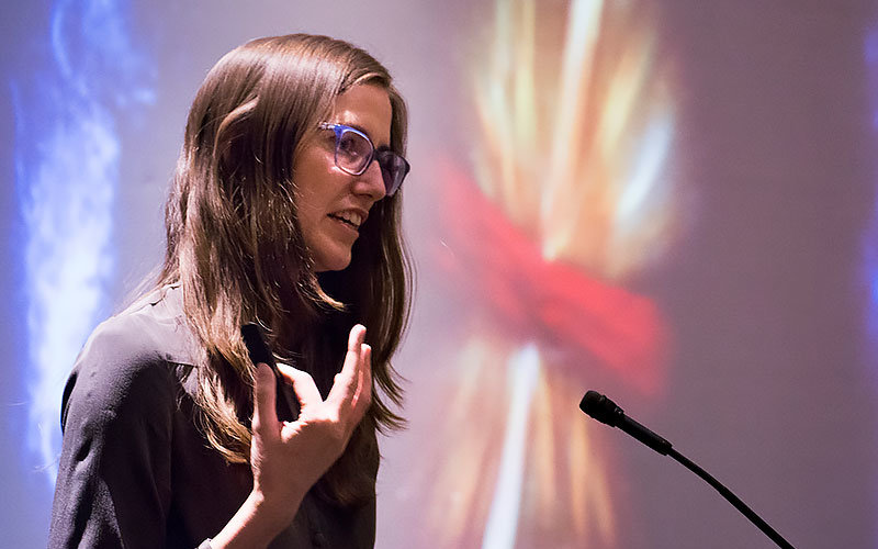 Jocelyn Read speaking about the latest discovery of gravitational waves from a collision of neutron stars.