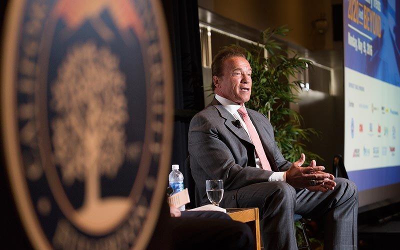 Arnold Schwartzenegger speaks at Cal State Fullerton