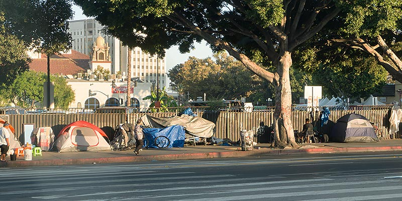 Row of tents along Los Angeles' skidrow district.