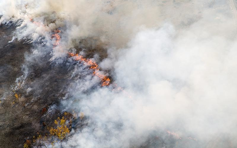 Aerial view of burning wildfire
