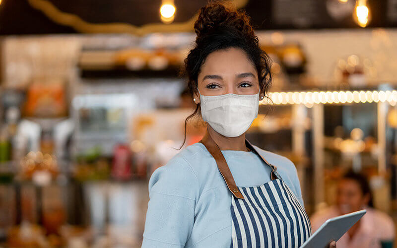 Restaurant Owner with COVID Mask