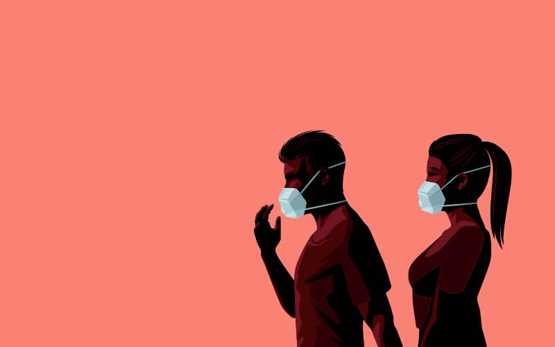 Illustration of a couple wearing protective face masks.