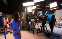 Broadcast students learn on set.