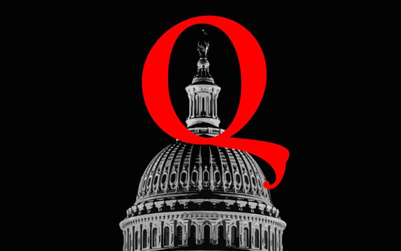 Qanon Logo above USA Capitol