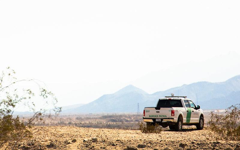 Customs Border Protection truck in desert along border