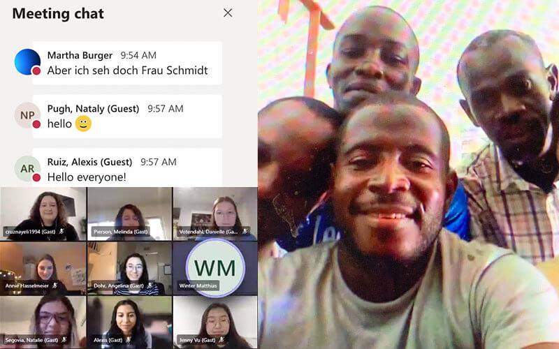 Photo collage of German English chat, Educators, Haitian eduactors