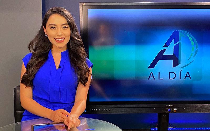 Kimberly Cruz on the Broadcast set of Al Dia