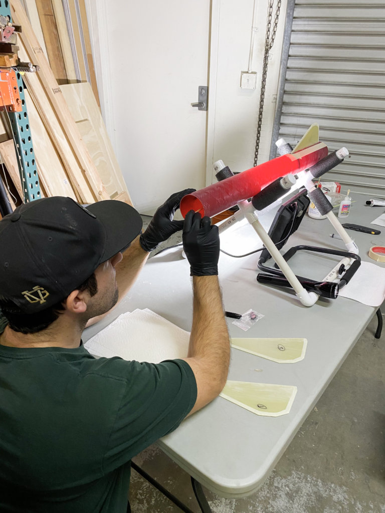 Zack working on his L2 Certification Rocket