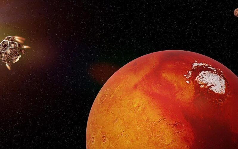 Rendering of space craft approaching Mars