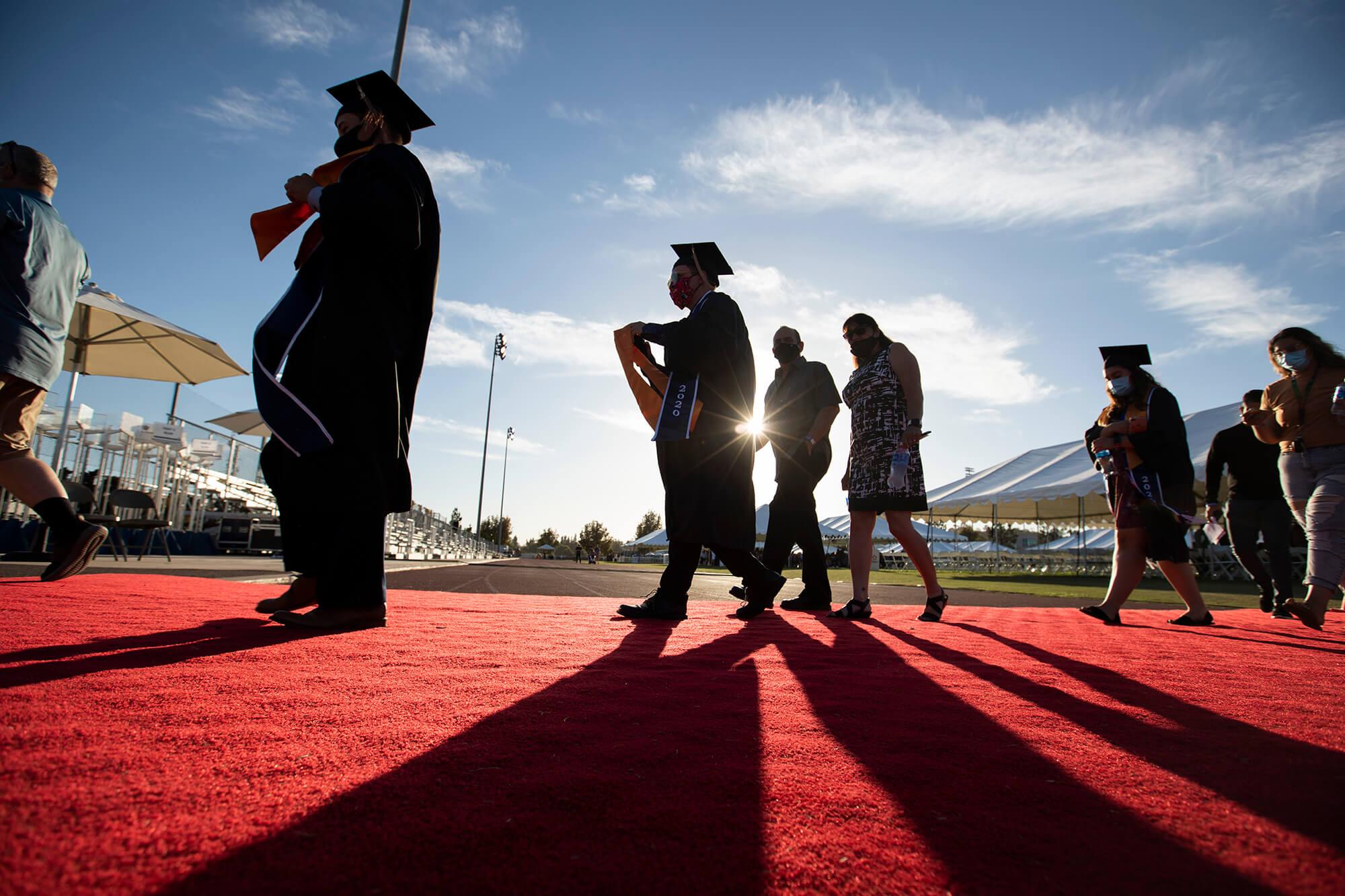 Graduating students in regalia