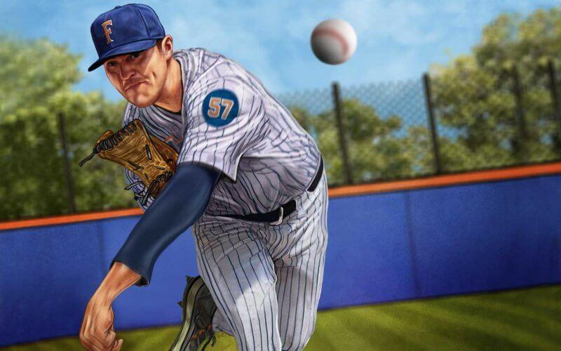 Illustration: baseball player throwing ball