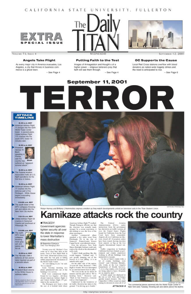 Front Page of the 9/12 issue of the Daily Titan
