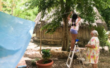 Indigenous Mayan family working together