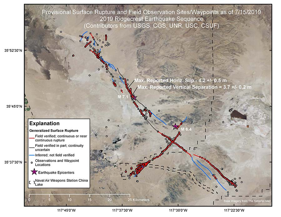 Ridgecrest surface rupture map.